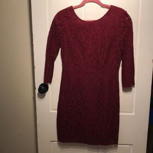 Merona Burgundy Lace Dress